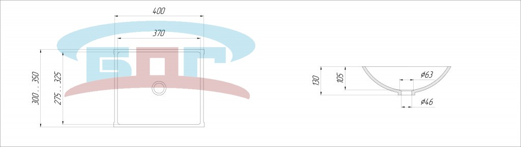 Чертеж раковины, умывальника из искусственного камня UK450