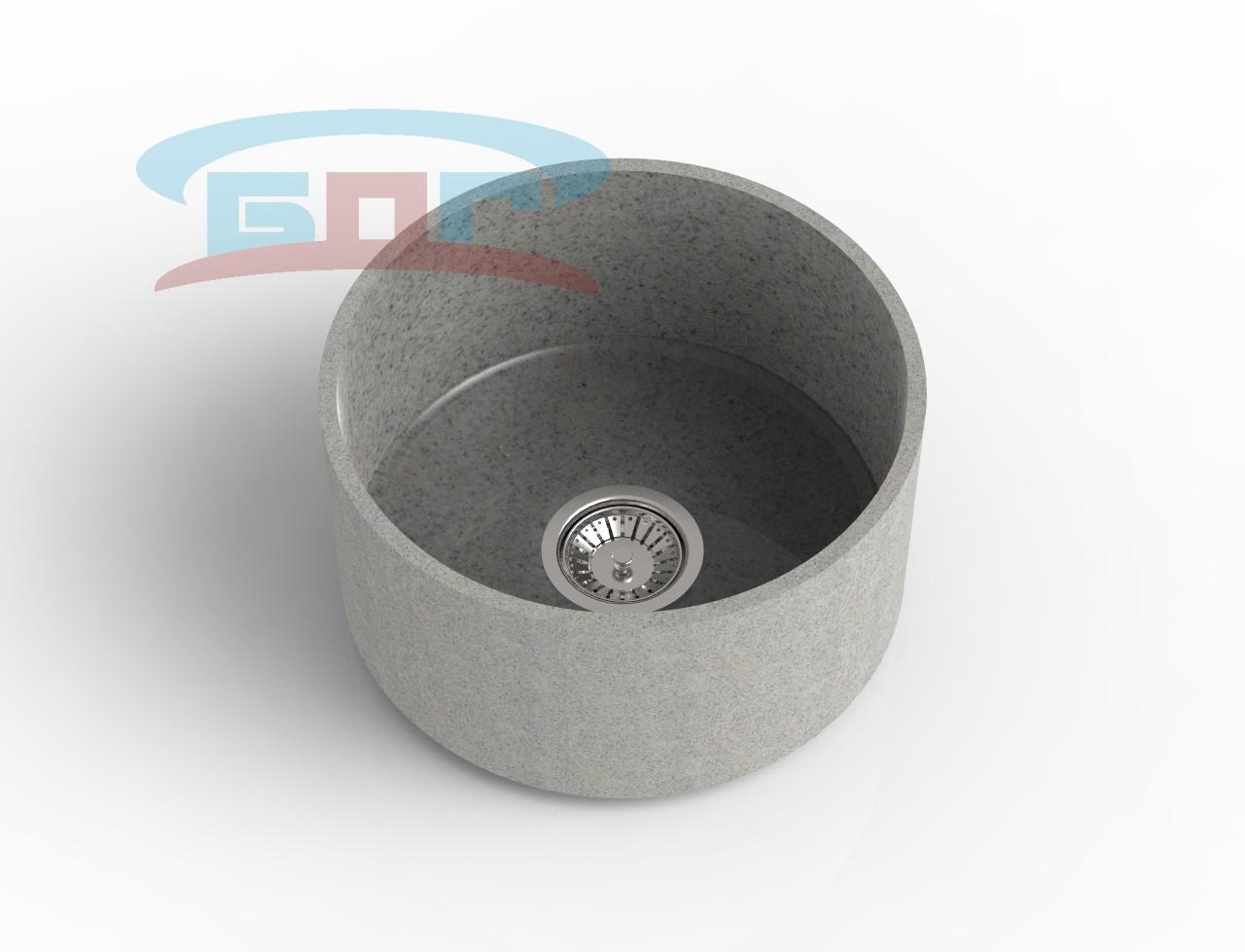 Мойка круглая из искусственного камня с артикулом С-450с Размеры чаши: d-400мм Глубина чаши: 205мм Сливное отверстие по центру