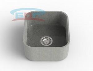 Мойка из искусственного камня с артикулом R-450с Размеры чаши: 425×400мм Глубина чаши: 205мм Сливное отверстие по центру