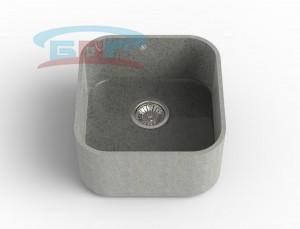 Мойка из искусственного камня с артикулом R-450k Размеры чаши: 425×400мм Глубина чаши: 205мм Сливное отверстие с краю