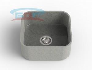 Мойка из искусственного камня с артикулом R-500с Размеры чаши: 425×550мм Глубина чаши: 205мм Сливное отверстие по центру