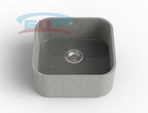 Мойка из искусственного камня с артикулом R-500k Размеры чаши: 425×550мм Глубина чаши: 205мм Сливное отверстие с краю