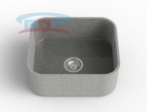 Мойка из искусственного камня с артикулом R-550c Размеры чаши: 425×500мм Глубина чаши: 205мм Сливное отверстие по центру