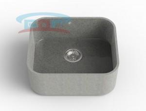 Мойка из искусственного камня с артикулом R-550c Размеры чаши: 425×500мм Глубина чаши: 205мм Сливное отверстие с краю