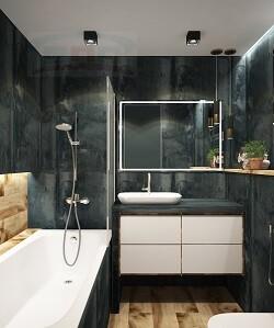 Столешница в ванную из искусственного материала под ванну