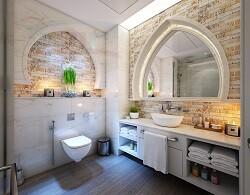 Белая столешница в ванную из искусственного материала