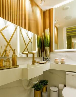 Столешница в ванную из искусственного материала под стиральную машину